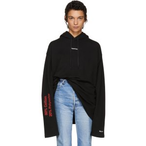 Vetements: Black 'French Terry' Hoodie | SSENSE
