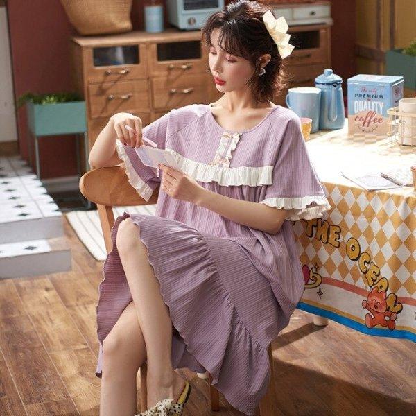 4.19€ 42% OFF Neue Koreanische Pyjamas Frauen Sommer Nachthemden Madchen Prinzessin Nacht Kleid Baumwolle Nachthemd Kurzen Armeln Plus Size Hause Kleidung Nightgowns & Sleepshirts  - AliExpress