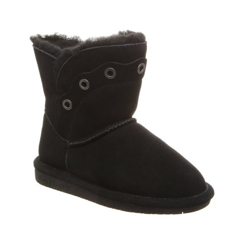 Black Grommet-Accent Youth Suede Boot - Kids