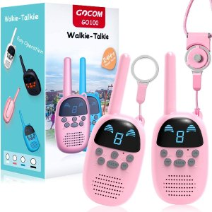 Children Walkie Talkies for 3-12 Year Old Boys Girls, GOCOM Portable Two Way Radios Kids Gift, Long Range Child Walky Talky Toys for Outside, (Pink, 2 Pack)
