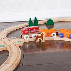 Orbrium Toys 12 Pcs Wooden Engines & Train Cars Collection fits Thomas, Brio, Chuggington @ Amazon