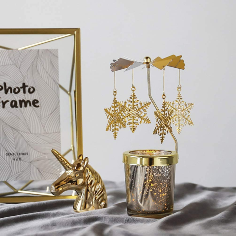 金银2色可选 €7.65起Amazon 圣诞走马灯热卖 梦幻旋转烛台 多款造型情调满分