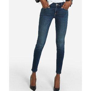 ExpressMid Rise Dark Wash Skinny Jeans
