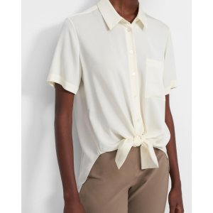 TheoryTie Front Shirt in Stretch Silk