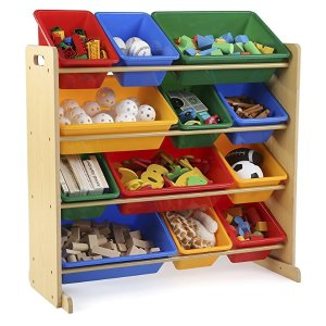 Tot TutorsKids' Toy Storage Organizer with 12 Plastic Bins, Natural/Primary (Primary Collection)