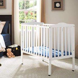 Amazon Delta Children Folding Portable Mini Baby Crib with Mattress, Grey