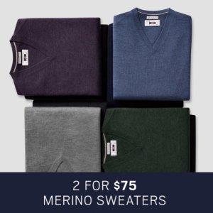 2 For $75Men's Wearhouse Merino Sweaters Sale