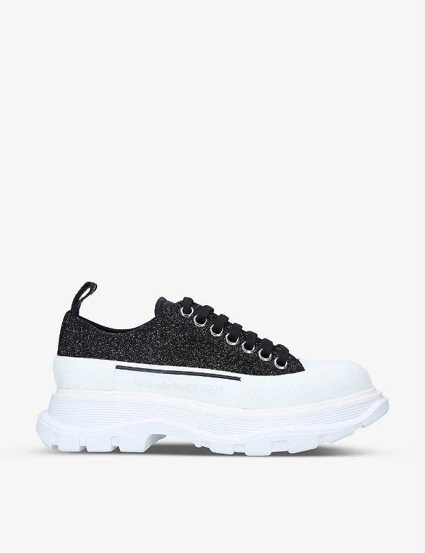 新款黑色细闪厚底鞋