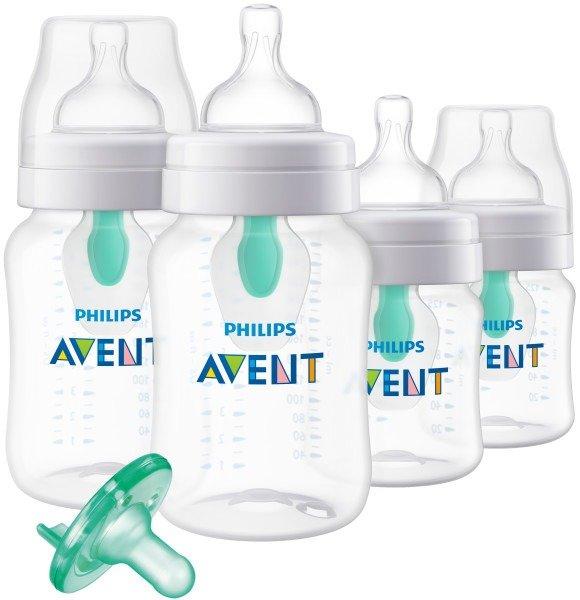 新款!婴儿防胀气奶瓶4个装+安抚奶嘴