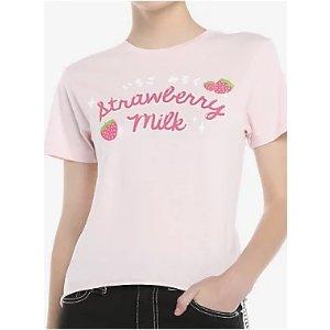 Strawberry Milk Girls Crop T-Shirt