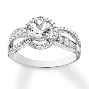 Lab-Created White Sapphire Ring Sterling Silver|Kay