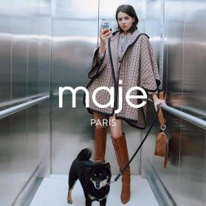 低至3折 连衣裙€117起Maje 初秋热卖专场 收针织外套、大衣等