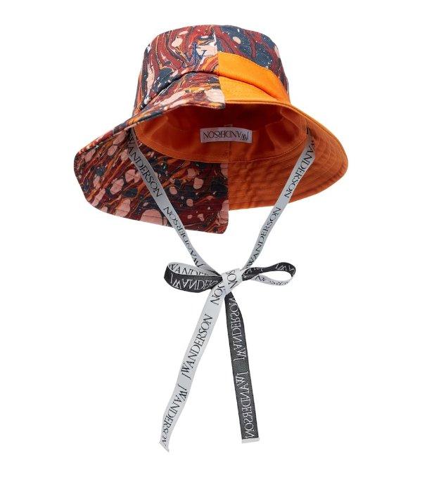 不对称印花渔夫帽