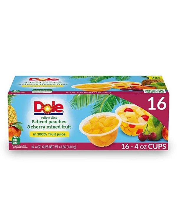 桃子樱桃混合口味100%天然水果杯 4oz 16杯装
