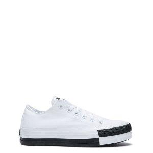 Converse 黑白拼色底帆布鞋