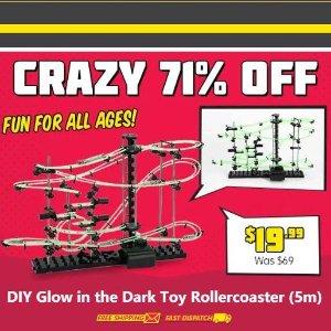 $19.99(原价$69)5米长DIY 组装型夜光玩具过山车 限时特惠