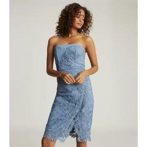 ReissFinley Dusty Blue Lace Bodycon Dress – REISS