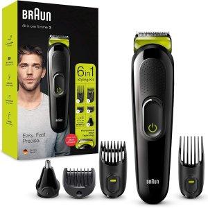 6折 折后€23.99 原价€40Prime Day 狂欢价:Braun MGK3021 6合1 电动理容理发套装