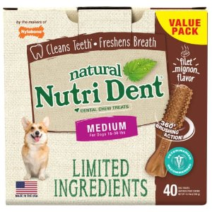NylaboneBuy 2 Get 1 FreeNutri Dent Limited Ingredients Medium Filet Mignon Dental Chews, 2.3 lb., Pack of 40 | Petco