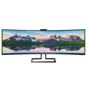 新品新低$999.99 (原价$1299.99)Philips Brilliance 499P9H 49吋 极宽屏曲面显示器
