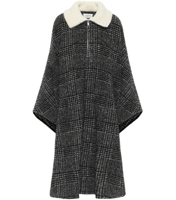 格纹羊毛斗篷式外套