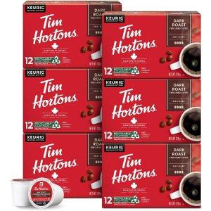 $46.93(原价$54.62)$0.65/颗史低价:Tim Hortons 优质Arabica咖啡胶囊6*12个装  Dark深度烘焙