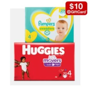 满$75送$15礼卡Target 多品牌婴幼儿尿布热卖,帮宝适、好奇等都参加