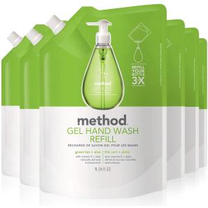 $25.05(原价$42) 仅$4.25/1LMethod 绿茶芦荟洗手液1L x 6包替换装囤货价 成分天然 消灭细菌