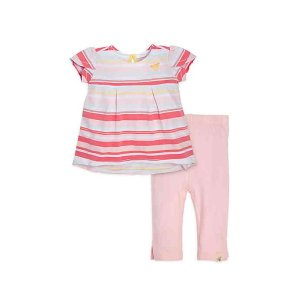 Burt's Bees Baby® 2-Piece Striped Tunic and Capri Set in Pink