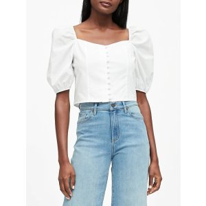 Banana RepublicPuff-Sleeve Cropped Top