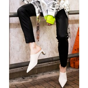 Pedder RedWEST - POINTED HEEL MULES WHITE KID LEATHER