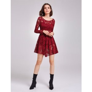 Ever-PrettyAlisa Pan Long Sleeve Sheer Lace Layering Dress
