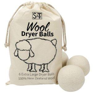 $15.9 (原价$17.63) 烘干机小助手S&T 新西兰羊毛烘干球XL号6个装