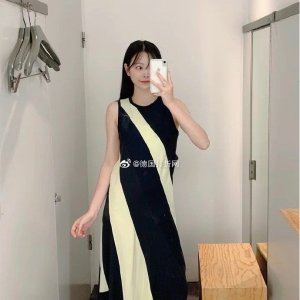 COS斜纹拼色裙