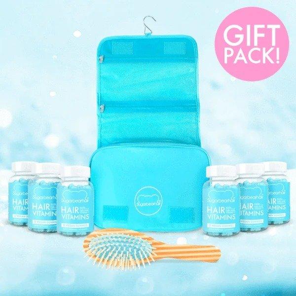 头发营养生物素护发软糖 6瓶 +收纳袋+气垫梳套装