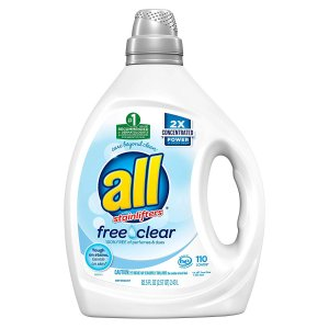 $12.99All Liquid Laundry Detergent, Free Clear for Sensitive Skin, 2X Concentrated, 110 Loads