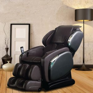 TitanOsaki Brown Faux Leather Reclining Massage Chair-OS-4000LS-BROWN - The Home Depot
