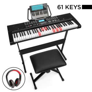 Best Choice Products 61-Key Beginners Electronic Keyboard Piano Set w/ Lighted Keys, Headphones