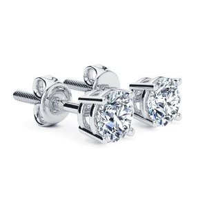 762bbc039 SuperJewelerColorless 1 Carat Genuine Natural F-G Super White Diamond Stud  Earrings in 14 Karat White Gold