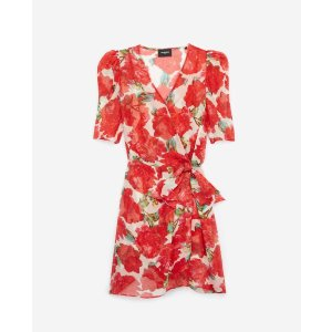The KooplesPrinted wrap short dress with flowers, red