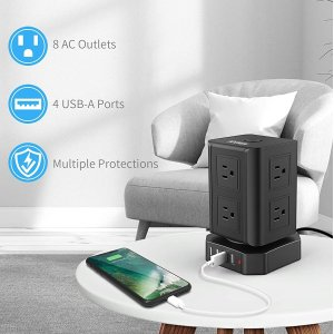 $27.29(原价$41.99)AOUMUN 多孔电涌保护插座 8个电源孔、4个USB孔