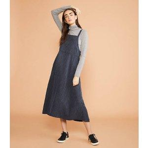 LOU & GREYPinstripe Fluid Apron Pocket Dress