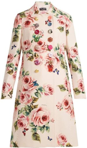 Dolce & Gabbana Rose-Print Double-Breasted Wool Top Coat w/ Jeweled Buttons | Neiman Marcus