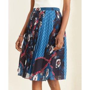 Ann TaylorPetite Floral Scarf Print Pleated Skirt | Ann Taylor