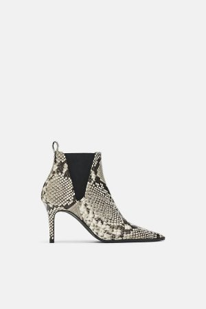 SNAKESKIN PRINT LEATHER HIGH - HEEL ANKLE BOOTS-PREMIUM-WOMAN | ZARA Australia
