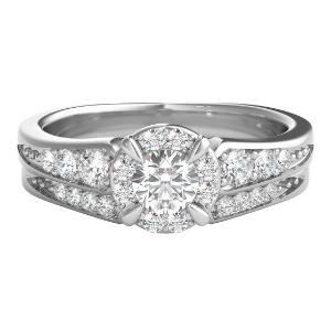 1/2 ct. tw. Diamond Halo Engagement Ring Set in 10K White Gold
