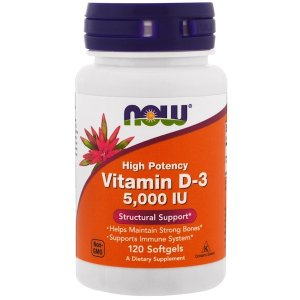 Now Foods (NOW®)High Potency Vitamin D-3, 125 mcg (5,000 IU), 120 Softgels