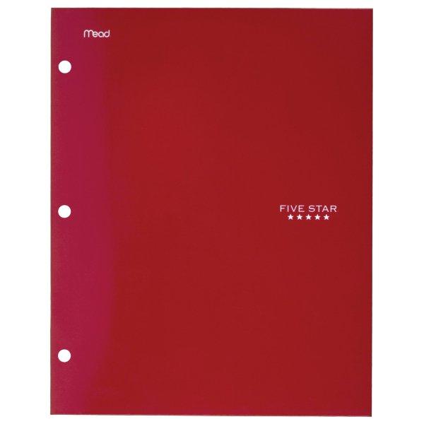 """4袋带孔文件夹, 12"""" x 9.5"""", Red (33477)"""