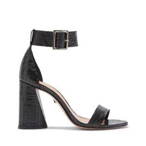 Schutz黑色粗跟凉鞋