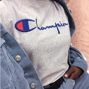 额外7.5折 $18收T恤Champion 宇宙网红服饰特卖 经典4折起